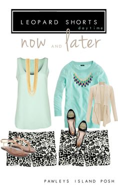 J.Crew Snow Leopard Shorts & Turquoise