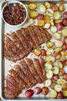 Sheet Pan Steak and Potatoes — Perfectly seasoned, melt-in-your-mouth tender steak and crisp cheesy potatoes — An easy dinner ready in less than an hour!