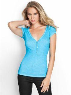 Guess Henley T shirt Blue