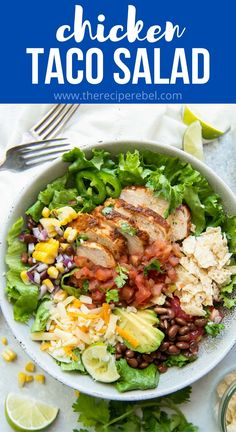 This Chicken Taco Salad is a fresh and healthy dinner idea that's loaded with flavor. It's packed with crunchy iceberg lettuce, tender chicken, cheddar cheese, tortilla strips, and all the best taco toppings! #chicken #recipe #dinner | chicken breast recipes | chicken dinner | easy dinner ideas | instant pot | crockpot Chicken Taco Seasoning, Chicken Tacos, Potluck Salad, Dinner Salads, Best Chicken Recipes, Healthy Salad Recipes, The Recipe Rebel, Healthy Lunches For Kids, Big Salad