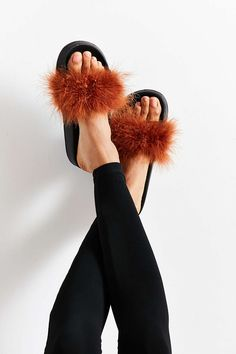 feathery slide sandals for making a statement