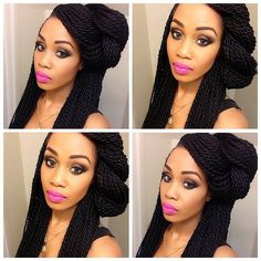 this is a great style if you have in twist. be versatile with your braids. style it up! Senegalese Twist Hairstyles, Twist Braid Hairstyles, Braided Hairstyles For Black Women, African Braids Hairstyles, Senegalese Twist Braids, Black Girl Braids, Braids For Black Hair, Girls Braids, How To Cut Bangs
