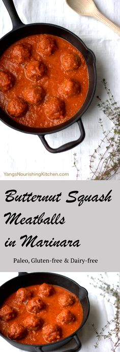 These butternut squash meatballs are paleo, gluten-free & dairy-free. They are a healthy and seasonal take on the traditional Italian meatballs in marinara sauce, and so delicious! Can also be made with other winter squashes.