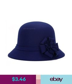 4771e7855c985 Hats Lady Vintage Imitation Wool Flower Felt Hat Winter Cloche Bucket Cap  Blue Fine  ebay  Fashion