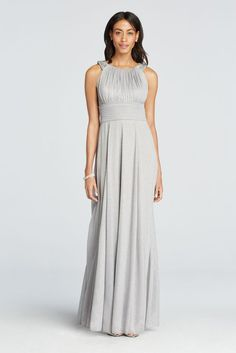 Sleeveless Glitter Jersey Mother of Bride/Groom Dress with Beaded Straps