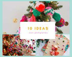 Una Navidad colorida con pompones Christmas Ornaments, Holiday Decor, Ideas, Home Decor, Pom Poms, Holiday Ornaments, The Originals, Xmas, Decoration Home