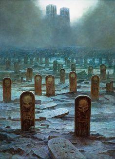 L'Art apocalyptique et dystopique de Zdzisław Beksinski Dark Fantasy Art, Fantasy Kunst, Dark Art, Arte Horror, Horror Art, Dark Images, Arte Obscura, Surrealism Painting, Fantasy Places