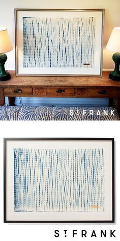 Handcrafted dyed textile is float-mounted on a linen substrate, which provides a border between the textile and frame.