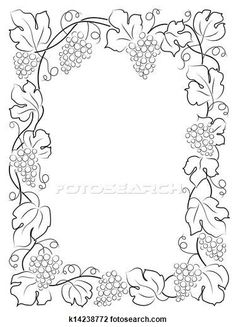 Clip Art of black calligraphy frame wine label vine grapes