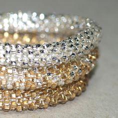 Triplets - Shiny ... Bangle Set . Bracelet . Bead Crochet . Silver . Gold . Sparkly . Metallic . Stylish . Chic . Bold . Modern . Beautiful