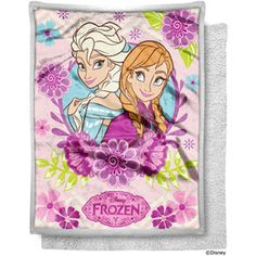 """Disney's Frozen 50"""" x 60"""" Frozen Mink Sherpa Throw, Flower Sisters"""