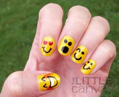 The Little Canvas: 31 Day Challenge - Day 3 - Yellow Nails - Emoticons! Manicure Y Pedicure, Mani Pedi, Manicure Ideas, Love Nails, Fun Nails, Emoji Nails, Yellow Smiley Face, Yellow Nail Art, 31 Day Challenge