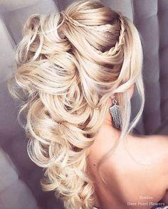 Elstile Wedding Hairstyles for Long Hair / www.deerpearlflow… Elstile Wedding Hairstyles for Long Hair / www.deerpearlflow… Elstile Wedding Hairstyles for Long Hair / www.deerpearlflow… Elstile Wedding Hairstyles for Long Hair / www. Curly Wedding Hair, Wedding Hair Down, Wedding Hair And Makeup, Wedding Knot, 2017 Wedding, Straight Updo, Straight Hairstyles, Long Haircuts, Layered Haircuts