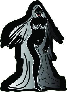 """""""Deusa Negra""""- Ilustração no Adobe Ilustrator sobre o desenho"""