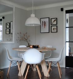 White modern dining chair design decor ideas if Dining Room Lamps, Modern Dining Chairs, Dining Room Design, Dining Area, Dining Rooms, Style Salon, Sweet Home, Home And Deco, Chair Design