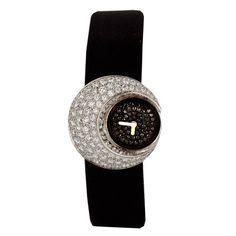 CHANEL Chic White Gold, Black and White Diamond Wristwatch circa 1990s