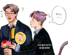 """I want hug """"Huh? Jimin Fanart, Kpop Fanart, Yoonmin, I Love You Too, Taekook, Bts Imagine, Bts Drawings, Fan Art, Bts Chibi"""
