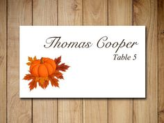 Fall Wedding Place Card Template  Autumn Wedding Rustic Leaves