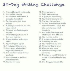 "30 Day Writing Challenge: Unedited, free-flowing thoughts on the daily topic. 30 Day Writing Challenge: Unedited, free-flowing thoughts on the daily topic. Didn't I already do this in the ""Bullet Your Day"" Challenge? I'm just going to copy and … Journal Writing Prompts, Writing Topics, Essay Topics, Poetry Prompts, Journal Ideas, Journal Topics, Art Journal Prompts, Essay Prompts, Essay Writing"