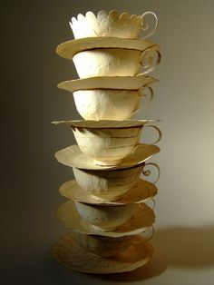 Cecilia Levy 'Peak at Bacchanalia Piece' Voilá - seven cups finished for the Bacchanalia exhibition in London! Don't want them exposed like this then - one gust of air and they come tumbling down - but they do make an impressive tower don't you think?