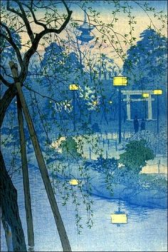 Vintage Japanese Evening Woodblock Art Ukiyo-E Poster Culture Art, Art Asiatique, Art Japonais, Japan Art, Japan Japan, Daiso Japan, Japanese Painting, Chinese Painting, Art Graphique
