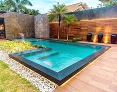 When it comes to cool fun under the hot summer sun, there's nothing better than jumping into a swimming pool. Having your own swimming pool offers vacation fun without the hassle of packing up the family and dealing with busy… Continue Reading → Small Swimming Pools, Luxury Swimming Pools, Small Pools, Dream Pools, Swimming Pools Backyard, Swimming Pool Designs, Pool Decks, Pool Landscaping, Small Indoor Pool