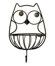 Wall Hanging Owl Metal Basket Hook: This metal owl hook is the perfect decoration for your home. It can hold keys, rings, necklaces, you name it! It would also make an adorable decoration in your child's bedroom. Owl Metal Hook holds up to 3 lbs. Hanging Metal Baskets, Baskets On Wall, Wall Basket, Owl Home Decor, Wise Owl, Owl Art, Owl House, Wall Hooks, Metal Walls
