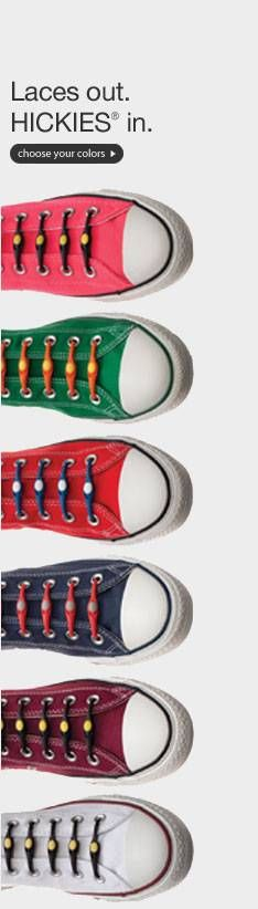 #Hickies Elastic Shoelaces from Brookstone turn any shoes into slip-ons!