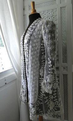Maria Niforos - Fine Antique Lace, Linens & Textiles : Antique & Vintage Clothing # CL-61 Ornate 19th C. Irish Crochet Coat w/ Provenance