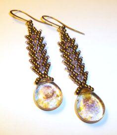 St Petersburg Stitch Woven Beaded Dangle Earrings by BeBoDesigns, $20.00