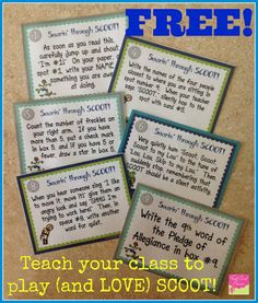 Getting Started With Task Cards: Play SCOOT with this classroom management Freebie!