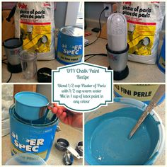 use hand blender to smooth plaster of paris instead of just stirring DIY Chalk Paint Recipe with Instructions Chalk Paint Table, Diy Chalk Paint Recipe, Chalkboard Paint, Furniture Projects, Furniture Makeover, Furniture Design, Homemade Chalkboard, Petites Tables, Diy Painting