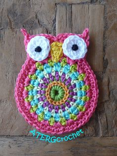 Crochet owl application 'kamelie' by ATERGcrochet on Etsy, €3.00