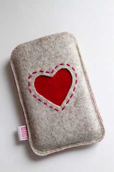 Felt phone cover - heathered beige and red