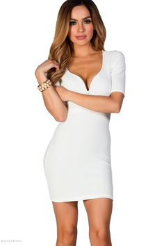 Plunging Sweetheart Bodycon White Dress with Sleeves