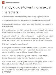 Handy guide to writing asexual characters