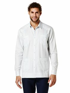 100% Cotton Textured Pintucked Guayabera