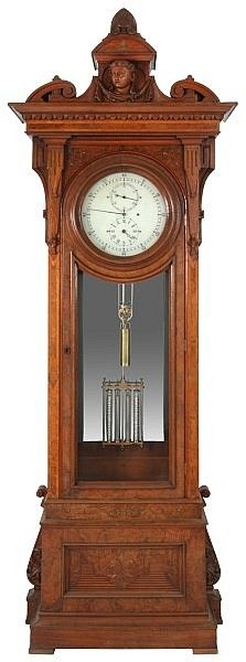 """E. Howard & Co. No.43 Astronomical Floor Regulator. 14 in. reverse painted glass astronomical dial with sweep minute hand and 5 minute hour numbers, 4.75 in. sub seconds dial over a 4.75 in. sub hour dial. Quality brass 8 day weight driven time only No. 2 movement signed """"E. Howard & Co., Boston"""", has brass front and rear plates, fancy turned posts, deadbeat escapement, maintaining power, Geneva stop, beat adjustment at the top of the crutch, brass dust cover plates on the top and sides; 5…"""