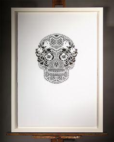 MEXISKULL SCREENPRINT | Screenprint: $650 700mm x 1000mm Edition of 20 White Box Frame, Float Mount $400 | Flox.co.nz