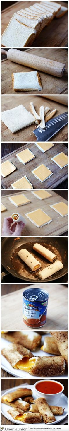 grilled cheese rolls with tomato soup