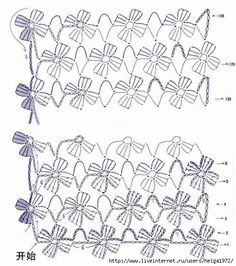 crochet chart for flower fringePretty floral edging for many crocheted items.crochet chart Would be pretty with a bead crocheted in the center (By Ana Brito): Encontrados na net! Filet Crochet, Crochet Stitches Free, Crochet Shawl Free, Crochet Diagram, Crochet Chart, Love Crochet, Crochet Scarves, Crochet Motif, Irish Crochet
