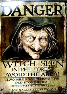 HALLOWEEN-WALL-DECOR-HAUNTED-HOUSE-WANTED-POSTER-SIGN-VINTAGE-WITCH-FREE-SHIP