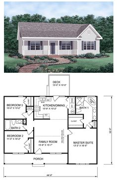 #Ranch #HomePlan 45476 has 1258 square feet of living space, 3 bedrooms and 2 bathrooms. Central & open to the floor plan, the kitchen and family room separate the master suite from the the smaller bedrooms. Walk through the dining area to the back deck.