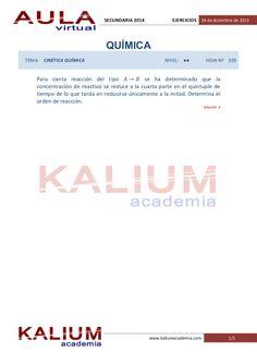 Oposiciones Secundaria: Física y Química. Problemas de cinética química (nivel  ··) by KALIUM academia via slideshare Academia, Exercises