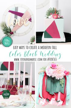 Will color blocking ever go out of style? I hope not, because I am a big fan of the simple and modern feel of this fashionable trend. While the trend is going strong, I decided to create a Color Blocked Wedding with a richer color palette and lots of texture – perfect for fall! #fun365 #weddinginspiration #diy #wedding #fallwedding #diyparty