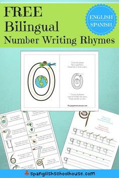 Have children learning to write numbers?  These bilingual number formation poems are a super fun way to practice.   FREE download includes flashcards, number writing practice pages, and reference guides in English/Spanish.