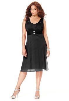 Black Rhinestone Embellished Chiffon Dress, Plus Size