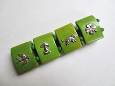 Art Deco wood and silver charm bracelet St Patricks Day bracelet, Green Wood, glass beads, swallow, 1930s jewelry, Jackpot Jen Vintage by JackpotJen on Etsy