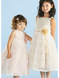 Flower Decorated Sleeveless Lace Satin Flower Girl Dress