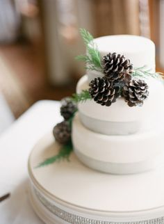 Winter wedding cake with pinecones: http://www.stylemepretty.com/colorado-weddings/avon-co/2014/10/01/beaver-creek-ski-resort-wedding/ | Photography: Mi Amore Foto - http://miamorefoto.com/